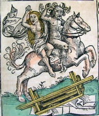 A woman rides with the devil on horseback.